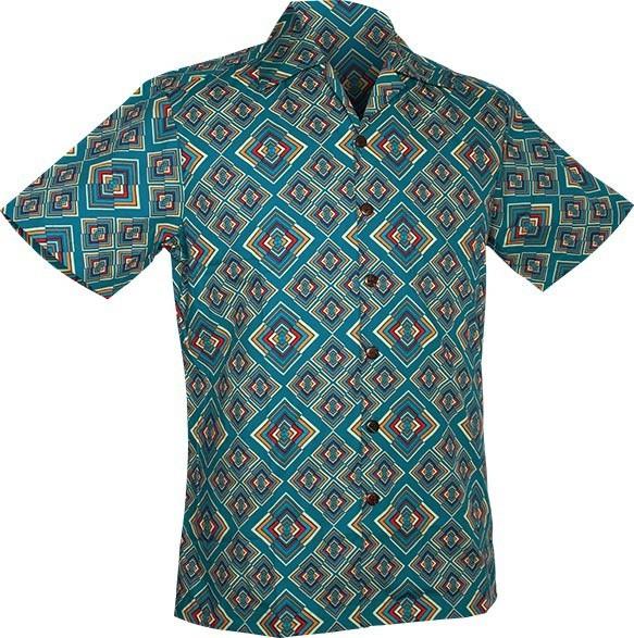 Chenaski | Overhemd korte mouw, Rhombus, turquoise