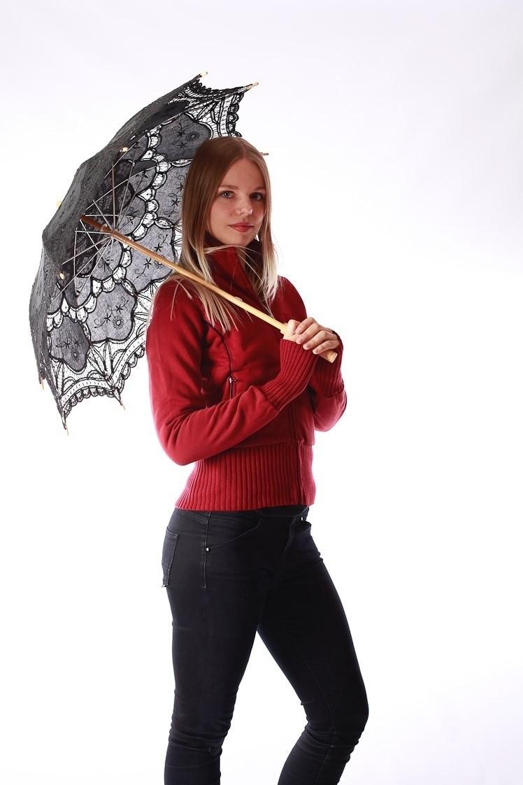 Paraplu Pentagramme, zwart met borduursels en kantklos rand