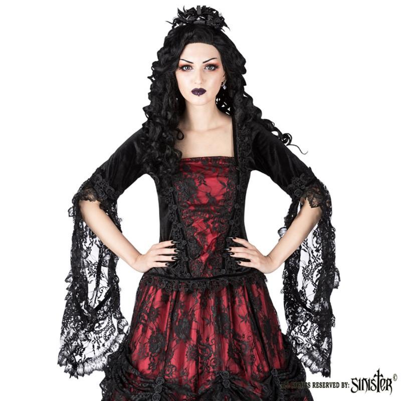 Top Darcia, zwart rood met kant en vleugelmouwen