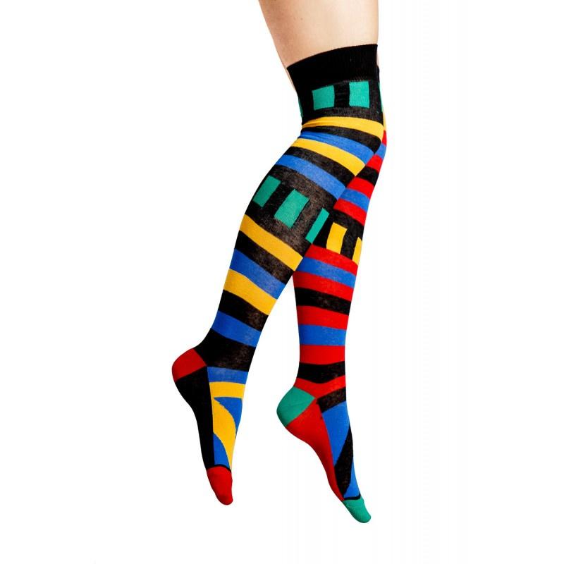 Flirt | Overknee sokken met Mondriaan print