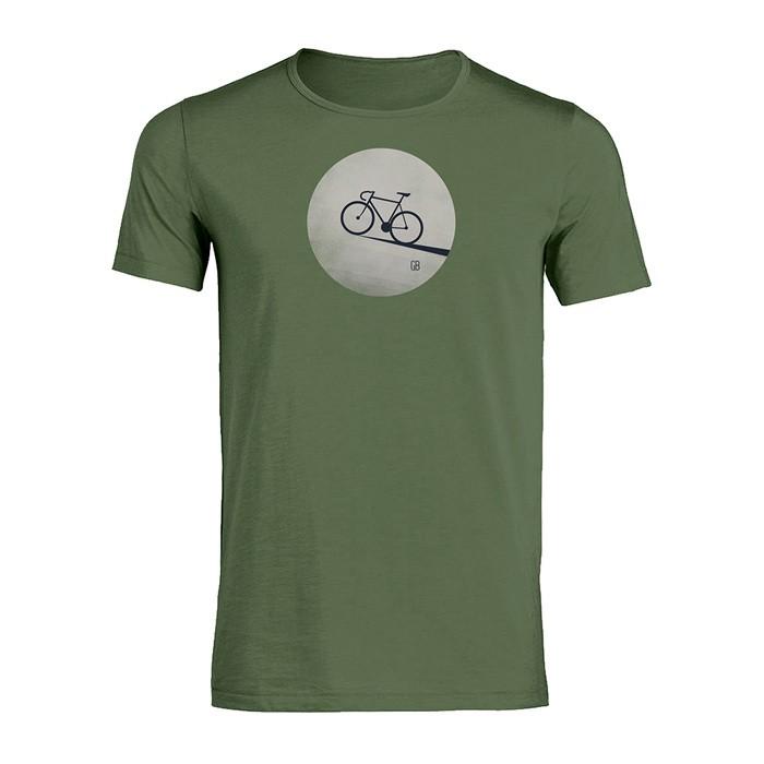 T-shirt Bike moon, staal groen bio katoen