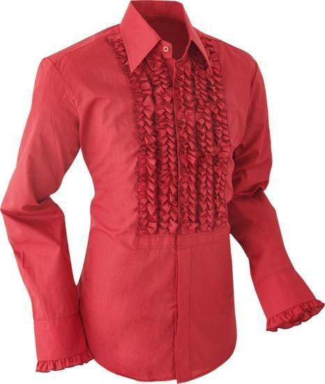 Overhemd ruche, burgundy met dark burgundy trim