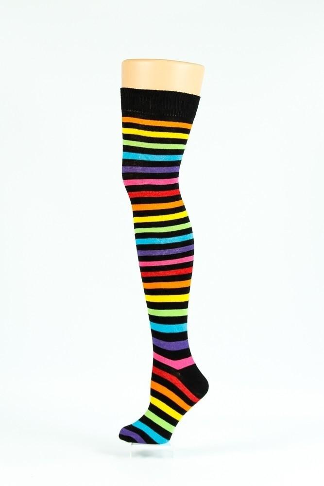 Kniesokken Regenboog Zwart Multi