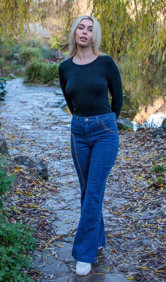 Run & Fly | Denim Jeans hoge taille met regenboog stiksels
