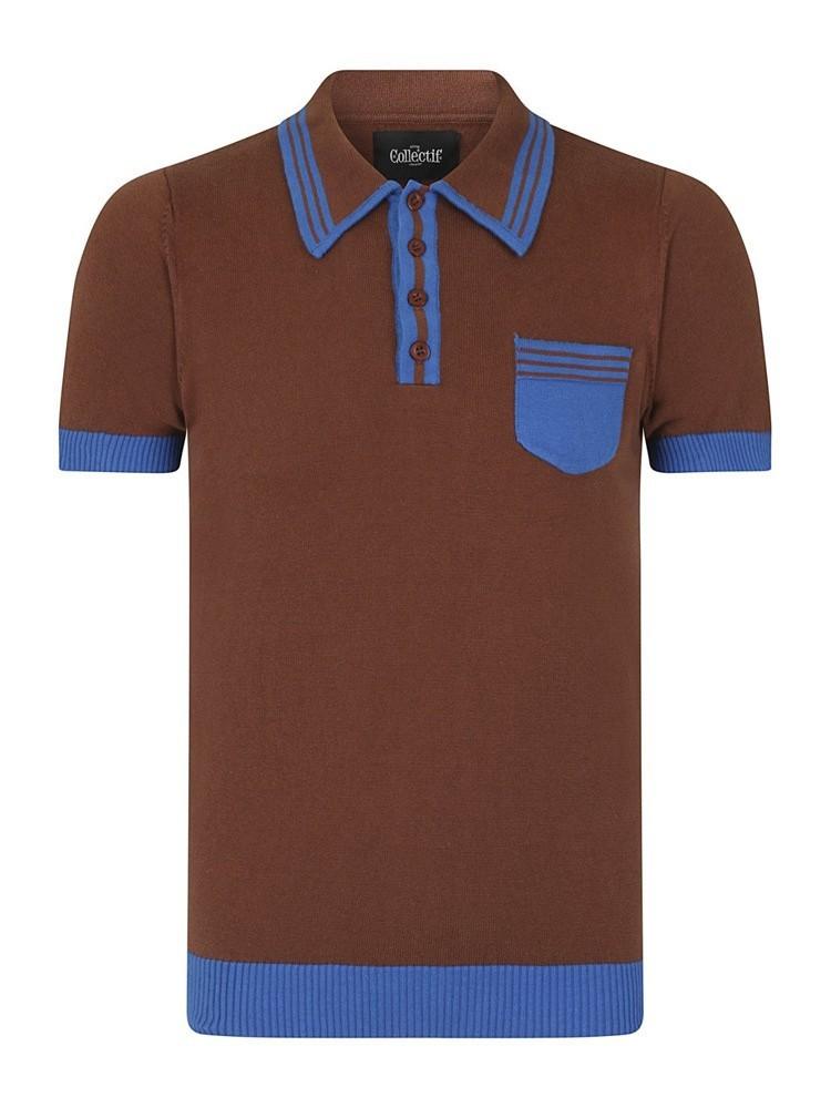 Collectif, Polo Peru Classic, bruin blauw