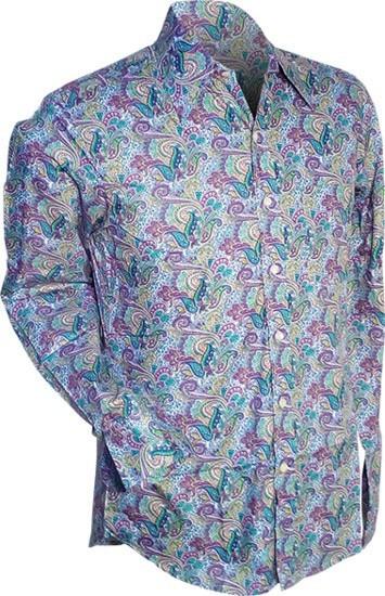 Overhemd retro, Paisley lichtblauw