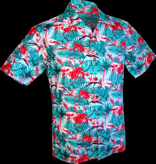 Overhemd korte mouw, Flamingos jungle licht blauw
