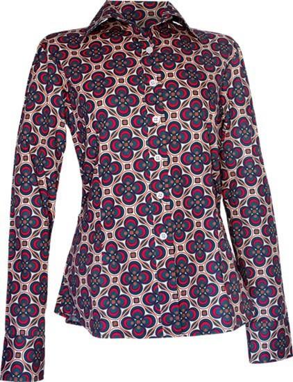 Chenaski, blouse Dotsgrid, creme petrol