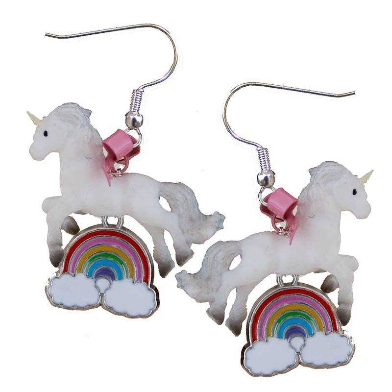 Miranda's Choice - Oorbellen met eenhoorns op regenboog