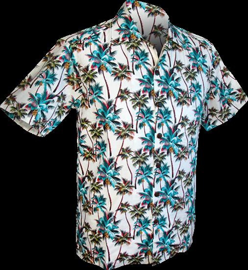 Overhemd korte mouw, Palmen creme