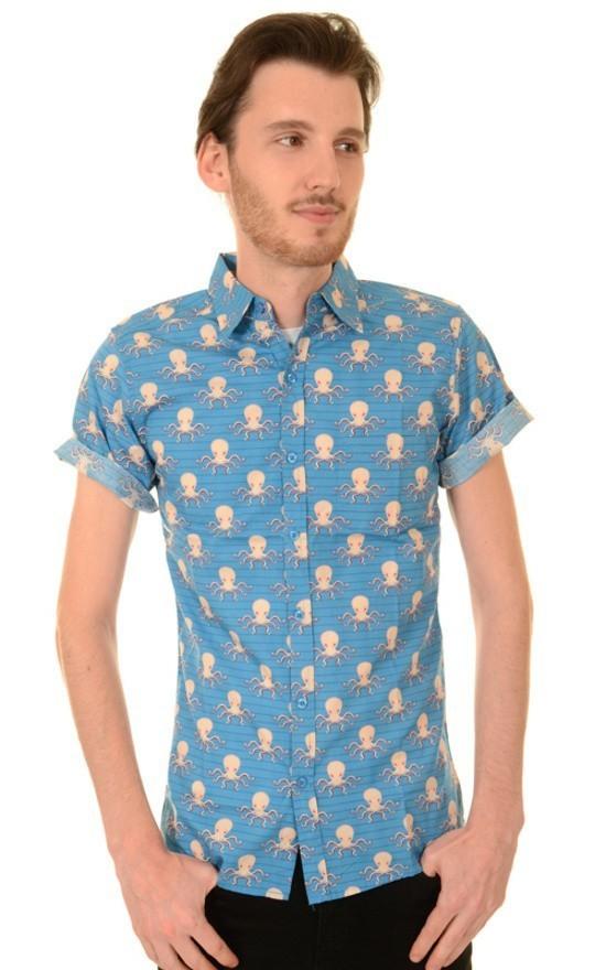 Overhemd korte mouw, Under The Sea, blauw met octopus