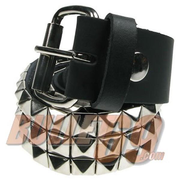 Bullet69 - Leren riem, 38mm - zwart met 3 rijen zilveren pyramide studs