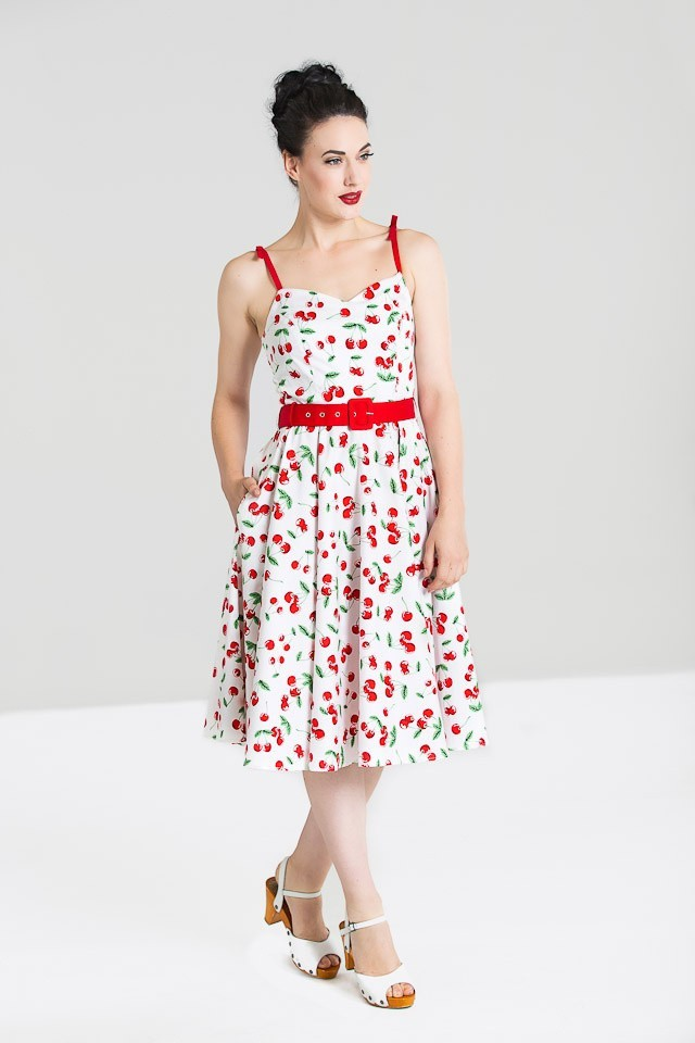 Jurk Sweetie 50's Swing, wit met kersenprint