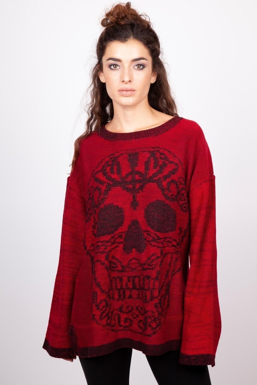 Trui sweater rood Ammonia, skull print