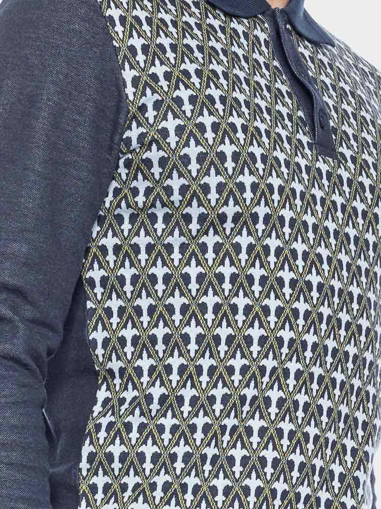 ATO Berlin | Polo Enne met lange mouw, donkerblauw lelie-jacquard patroon