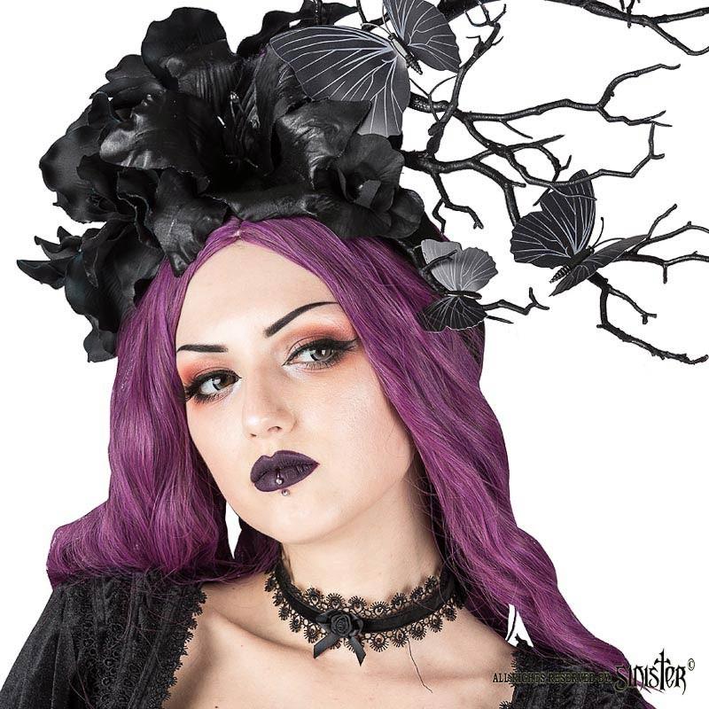 Sinister - Choker Adrienne, velvet lint met satijnen roosje, zwart