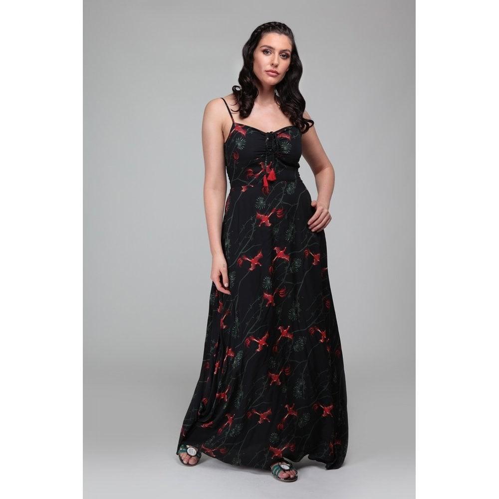 Maxi-jurk Tara Phoenix, zwart met feniks print
