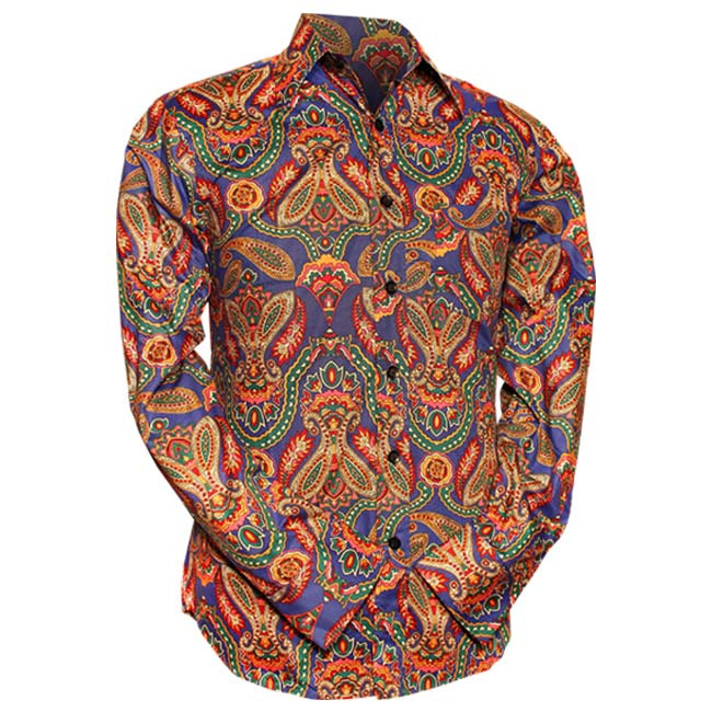 Chenaski   Overhemd Seventies Big Paisley, blue