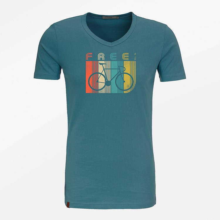 T-shirt Bike Retro Stripes, storm blauw
