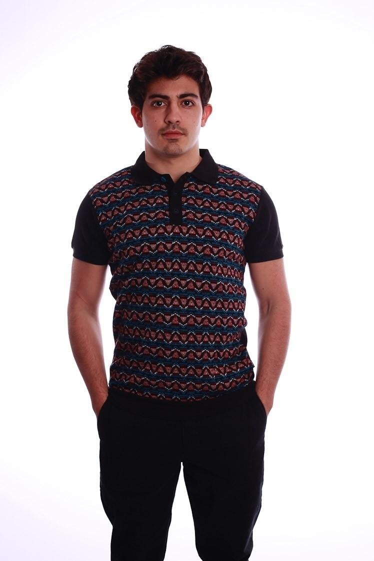 Polo Enzio, zwart met multicolour jacquardpatroon