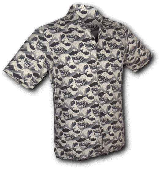 Overhemd korte mouw Japanese Waves grijs