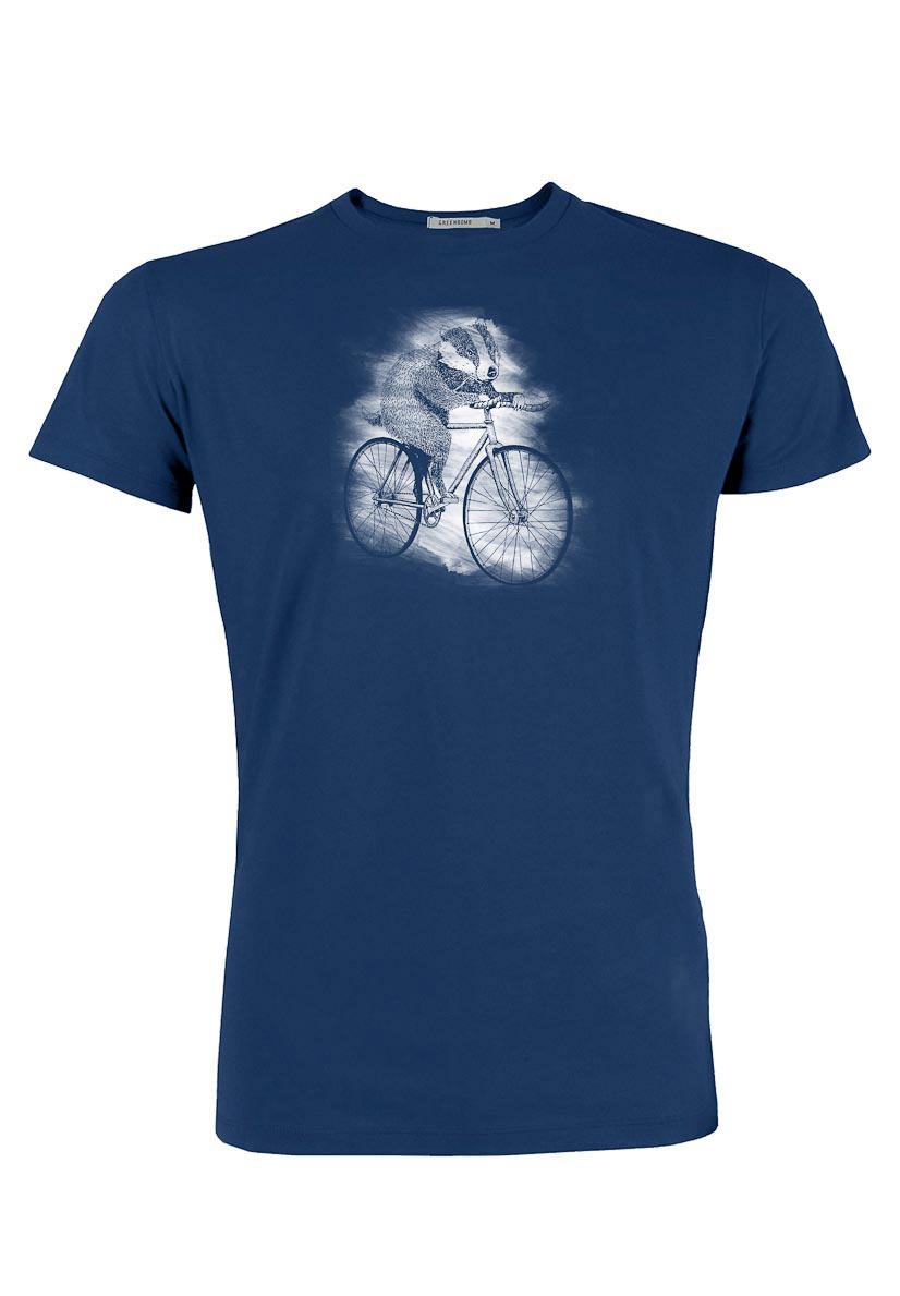 Green Bomb | T-shirt Bike Badger, bio katoen navy blauw