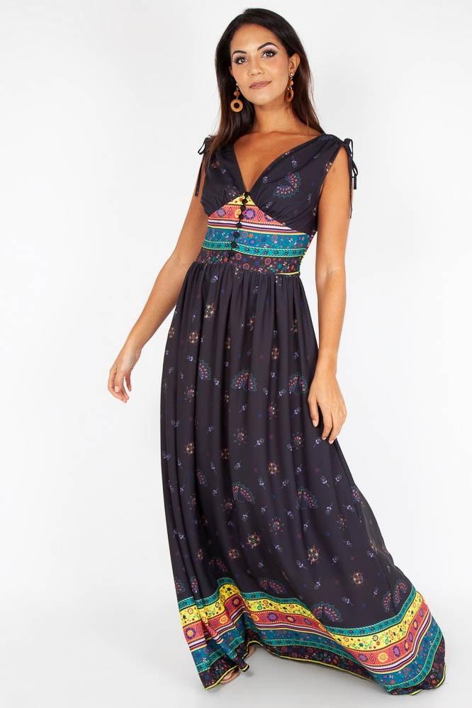 Maxi jurk Megan Fiesta, zwart met gekleurde aztec print