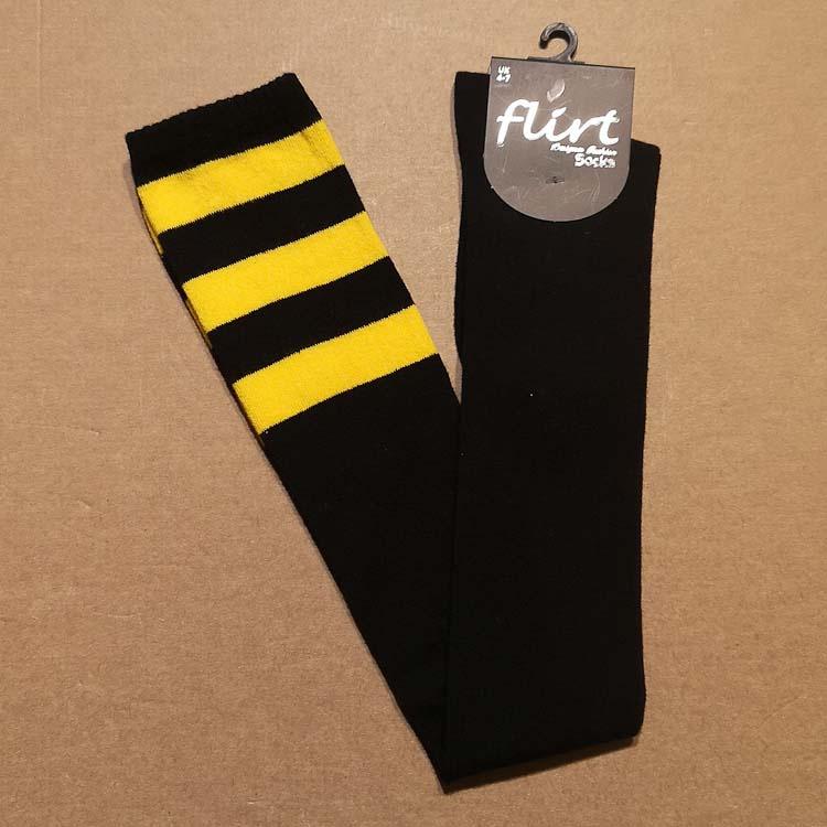 Flirt | Zwarte overknee sokken met 3 gele strepen
