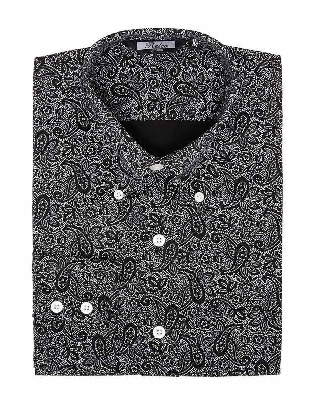Overhemd met lange mouw, Paisley zwart