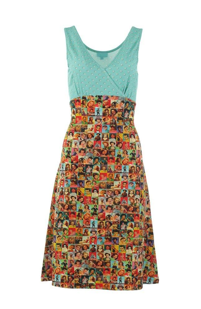 Hemdjurk Pearly, met gekleurde foto's van iconen, turquoise