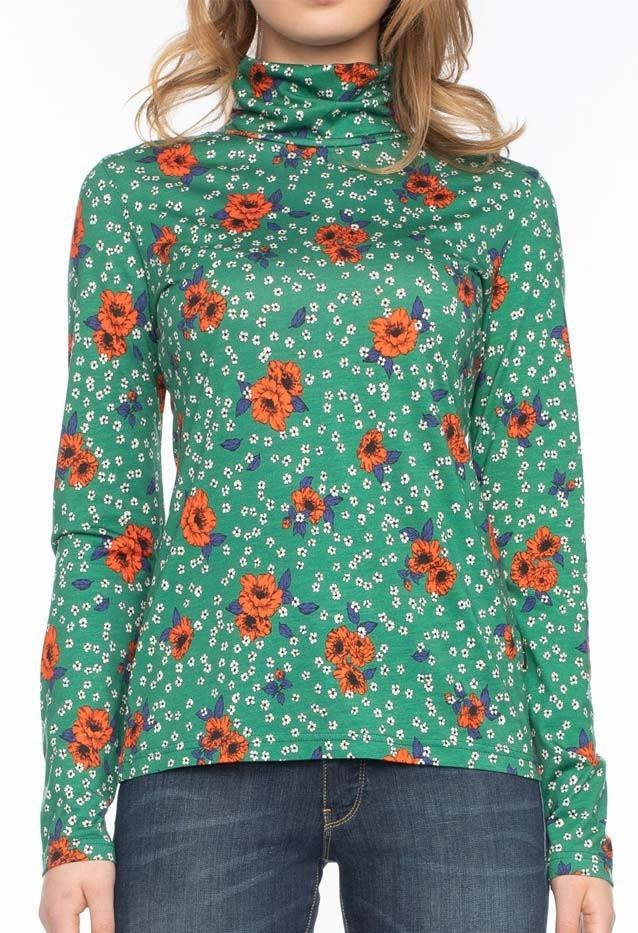 Coltrui Rolli, lang mouwen, groen met oranje bloemenprint