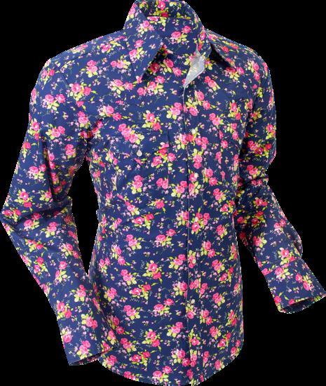 Overhemd cowboy, roses navy