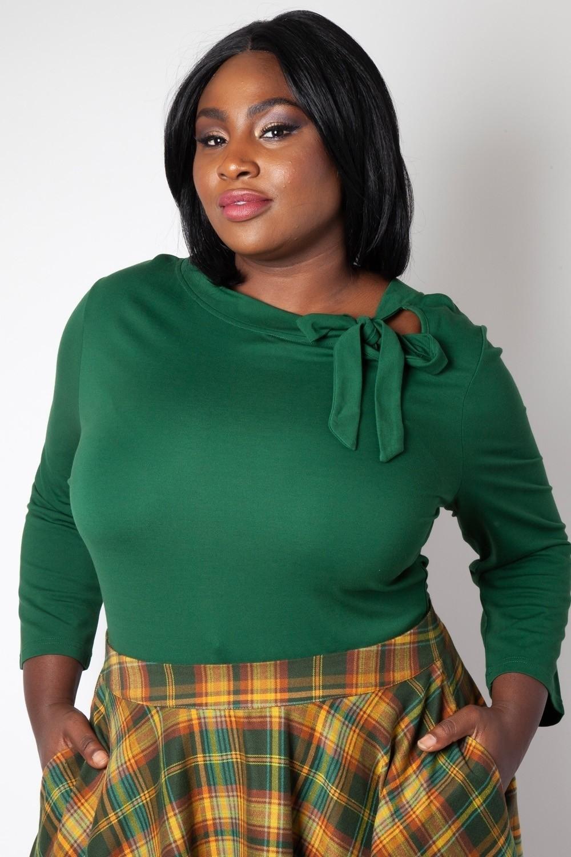 Top Melanie, groen met hals strik queensize
