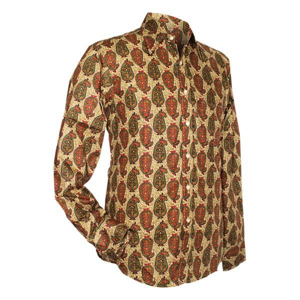 Chenaski - overhemd seventies, Indian paisley, creme groen