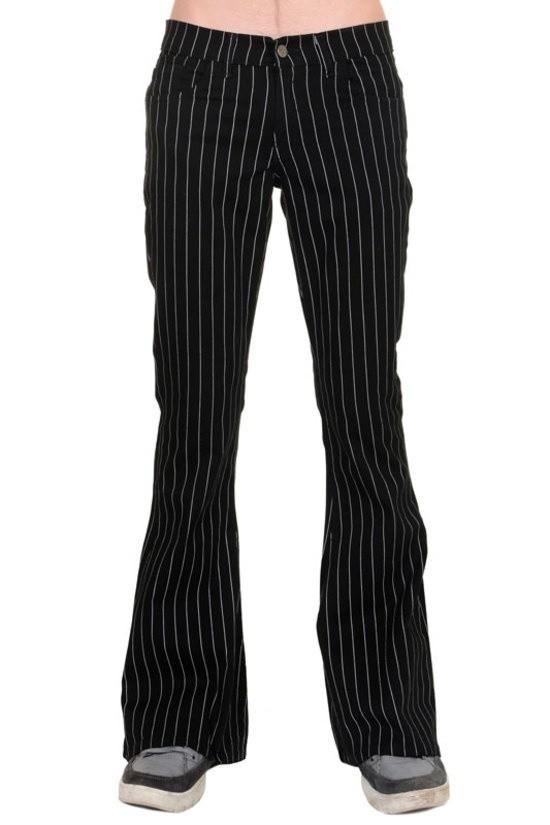 Broek met wijde pijpen, zwart wit pinstripe