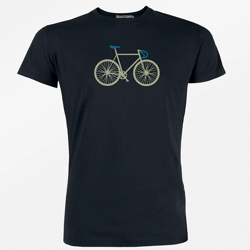 Green Bomb - T-shirt, Bike Two, bio katoen, zwart met racefiets