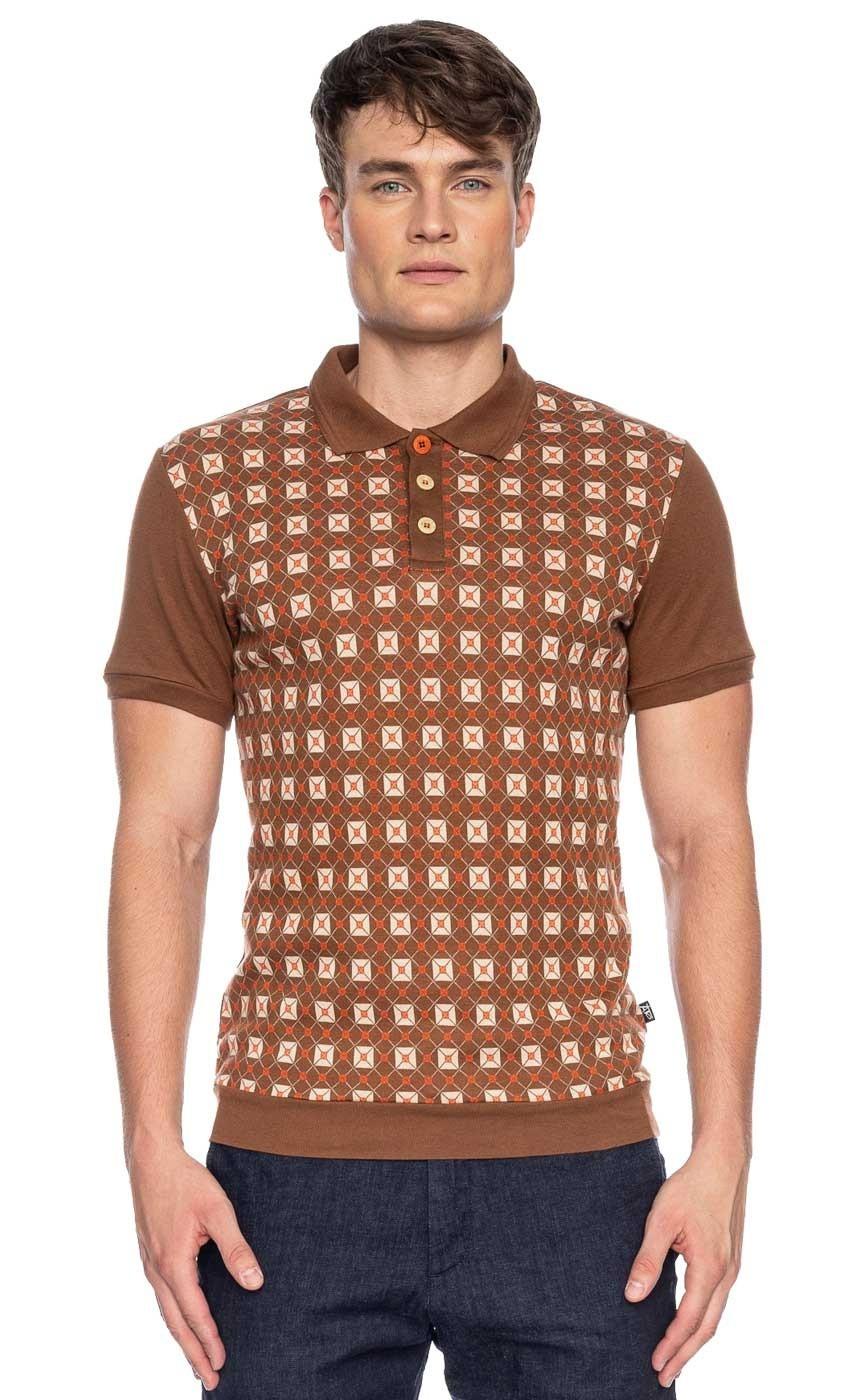 Polo Enzio jacquard patroon, bruin beige bio katoen
