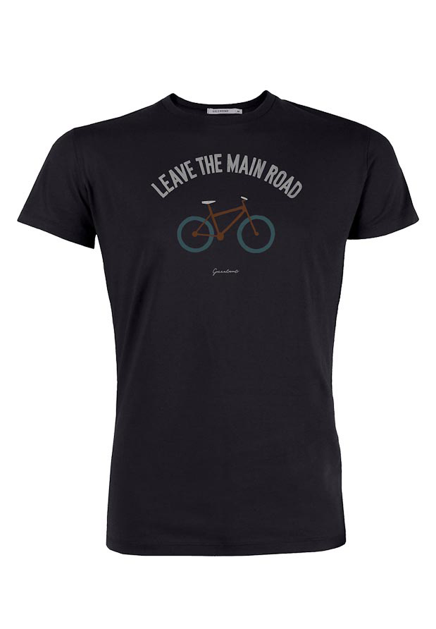 Green Bomb | T-shirt bike leave road, bio katoen zwart