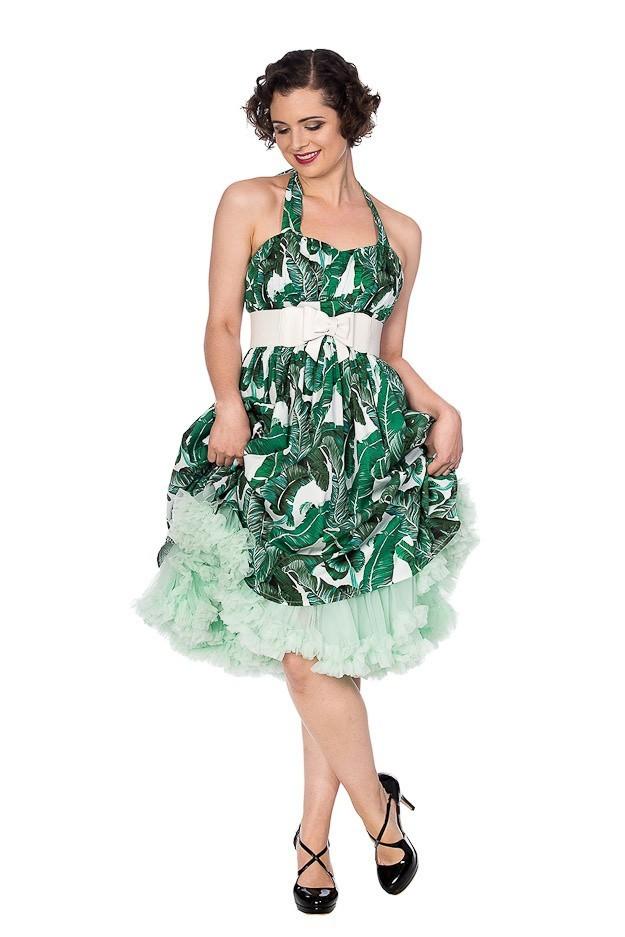 Jurk Tropical leaf, groen
