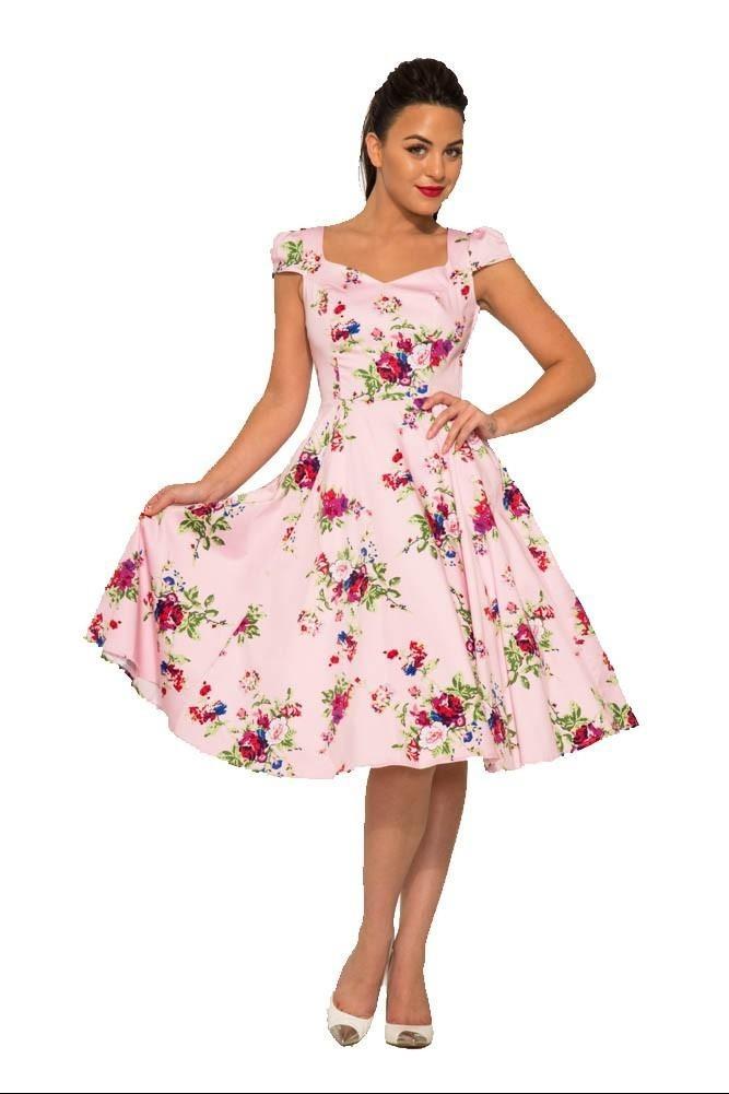 Jurk Royal Ballet, zacht roze met gekleurde bloemen bouquets