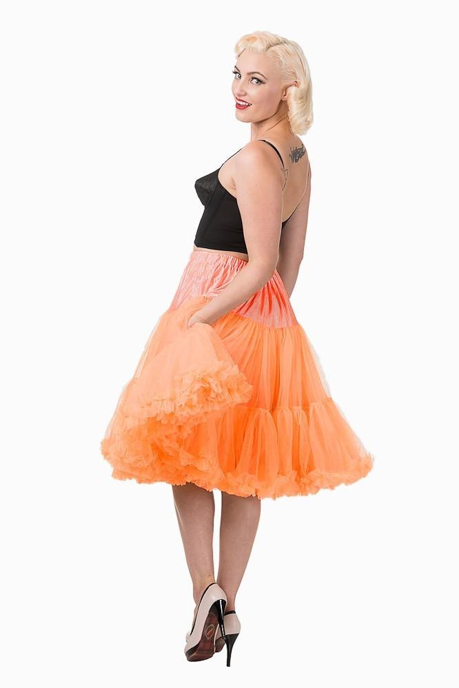 Petticoat Starlite over de knie met extra volume, oranje