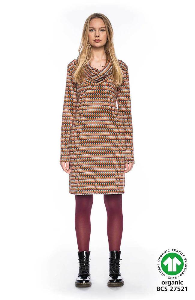 ATO Berlin | Kleurrijke warme jurk Halbmond met losse col