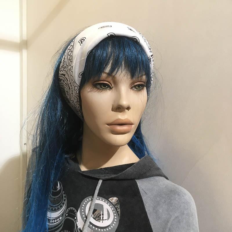Bandana haarband en sjaal met paisley patroon, wit-zwart