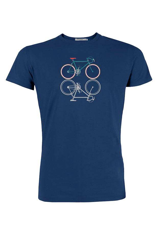Green Bomb | T-shirt bike shape, bio katoen navy