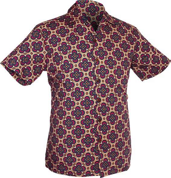 Chenaski   Overhemd korte mouw, Dotsgrid, creme petrol