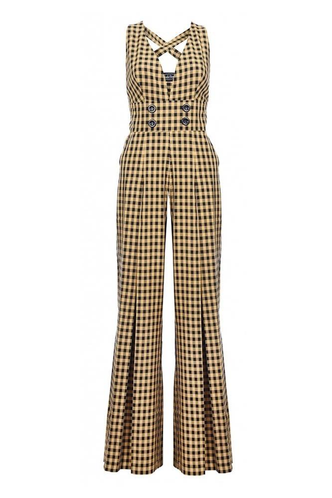 Broekpak Ciara 70s Gingham, wijde pijp, geel zwart