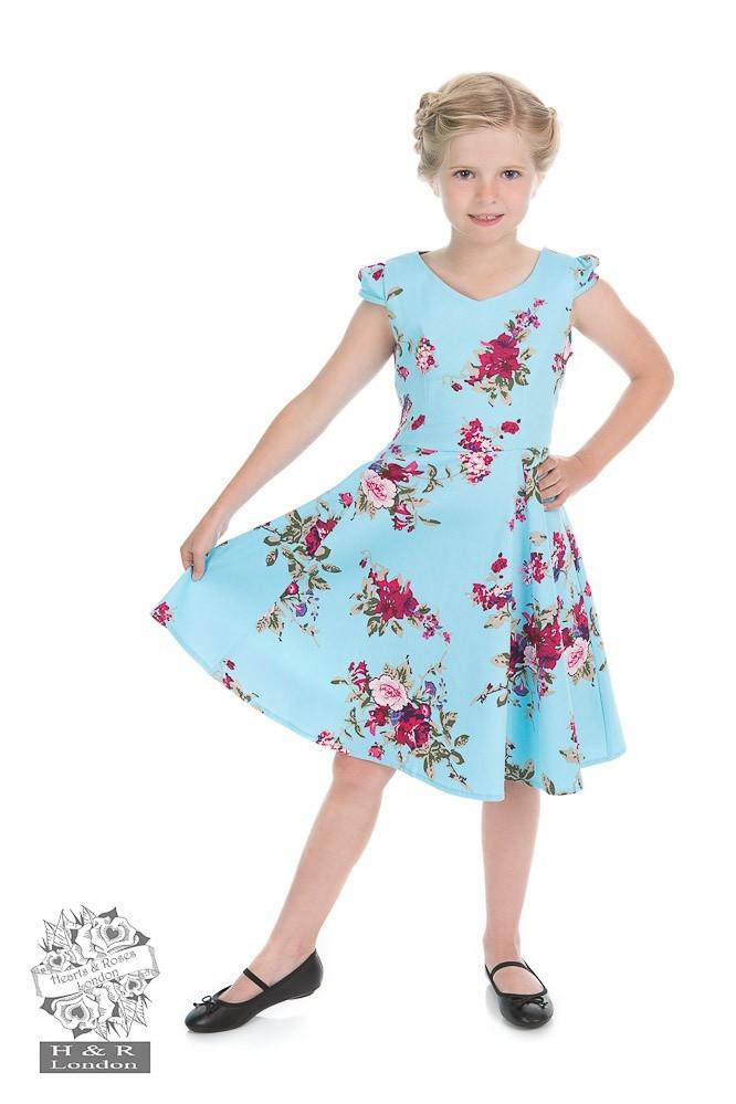 Kinderjurk, Royal ballet baby blue met bloemen