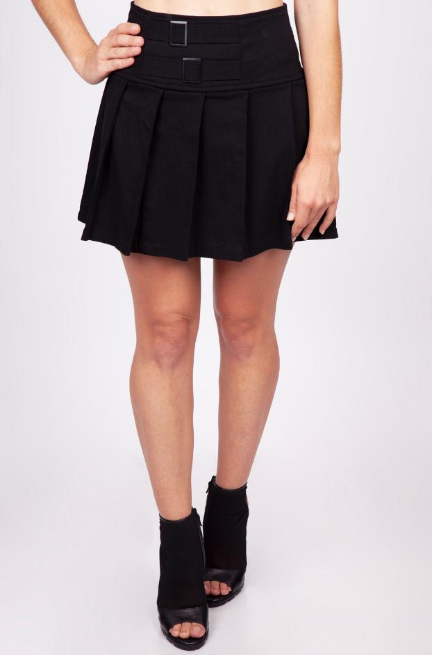 Rok Strapped in mini, zwart