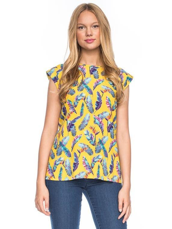 Shirt top Femke, geel met bonte veren print