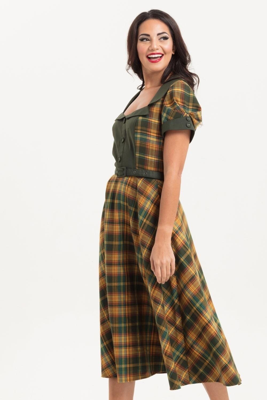 Jurk Ella, geel groen tartan swing model